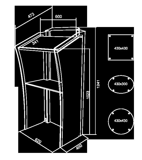 Rednerpult Cristall aus Acrylglas Kunststoff